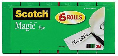 "Scotch Magic Tape, Writeable Invisible, 6 Rolls, 3/4"" x 1000"" (810K6)"