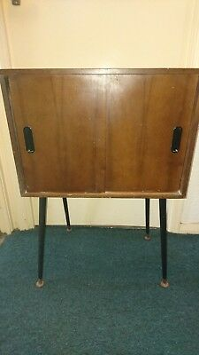 Antique Mid Century 1950's Lp Record Cabinet Approx 29.5H X 20W X 14D
