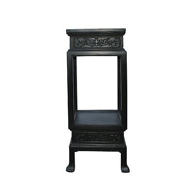 Chinese Huali Dark Brown Square Carving Plant Stand Pedestal Table cs4537
