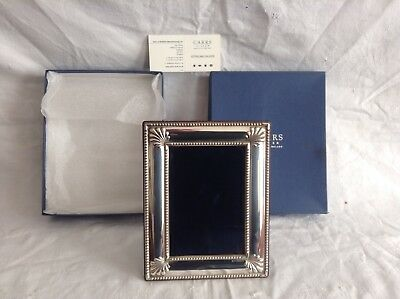 CARRS. Solid Silver Photo Frame Wooden Back.. Boxed / Pakaging / Card. UNUSED.