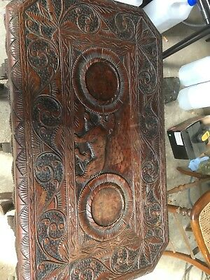 Antique Chinese Rosewood, Deep-Carved Table, Excellent Condition