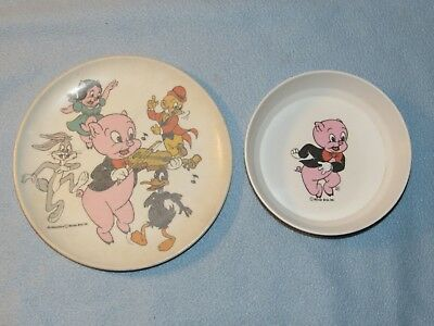 Vintage Warner Brothers PORKY PIG DINNER PLATE & BOWL Child's Melamine Dishes
