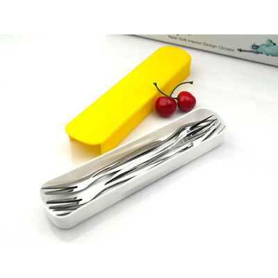 Portable Plastic Plain Cutlery Dinnerware Scoop Fork Box For Travel Camping S