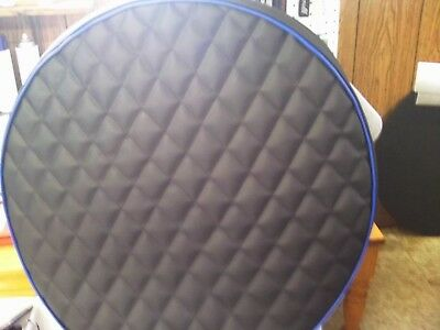 """Peterbilt fuel tank cover set of 2 for 26"""" tank Black quilted with blue trim"""