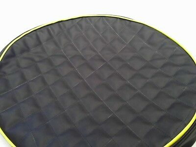 """Peterbilt fuel tank cover set of 2 for 23"""" tank Black quilted with yellow trim"""
