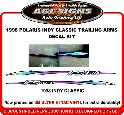 1998 Polaris Indy Classic Trailing Arms  Reproduction Decal Set