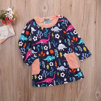 S-096 Toddler Navy Colorful Dino Dress (Ready to Ship from Ohio)(Free Shipping)