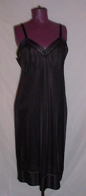 Vtg 42 Tall Black Full Slip by Lorraine Non Cling Trim To Fit N121
