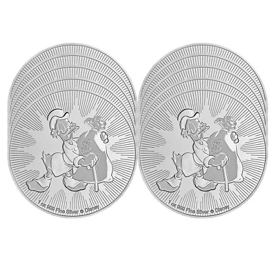 Lot of 10 - 2018 $2 Niue Silver Scrooge McDuck Disney .999 1 oz Brilliant Uncirc