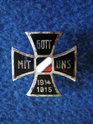 Imperial Germany: Silvered bronze and enamel patriotic pin 1914-1918.
