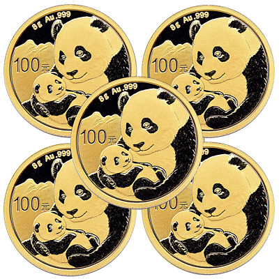 Lot of 5 - 2019 100 Yuan Gold Chinese Panda .999 8g Brilliant Uncirculated Seale