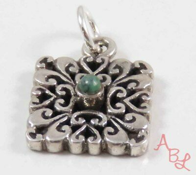 Barse Sterling Silver 925 Filigree Scroll Turquoise Pendant (2.6g) - 743716