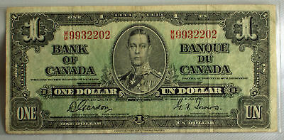 1937 Canadian One Dollar Bank Note Circulated M/M 9932202 Bank of Canada