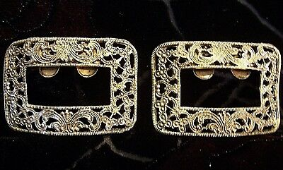 Gold Tone Filigree Musi Shoe Clips Vintage Jewelry