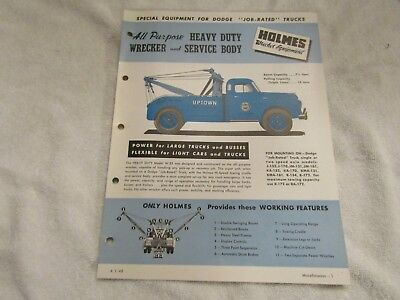 Vintage 1948 Dodge Truck Special Equipment Holmes HD Wrecker & Service Body