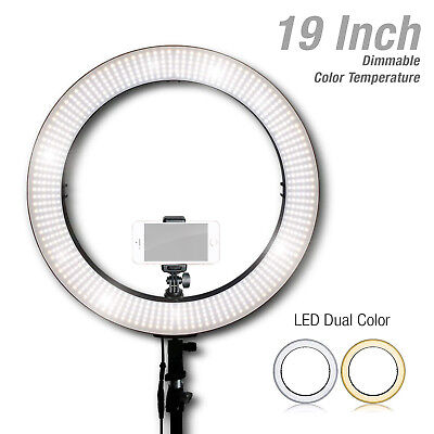 """Lusana Studio 19"""" LED Dual Color Dimmable Photo Ring Light w/ Phone Adapter"""