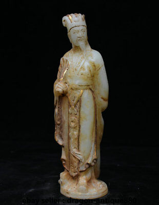 """8"""" Old Chinese Natural White Jade Dynasty Carved Zhuge Liang Mastermind Statue"""