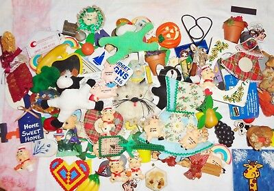 Lot of 100 + Vintage Refrigerator Magnets, Fruit, Animals, Commercial, Variety