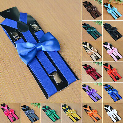 2PCS Suspenders And Bow Tie Combo Set Mens/Womens Braces Matching Fancy Wedding