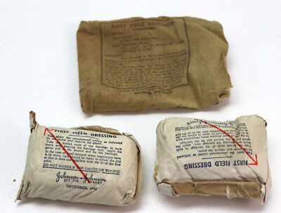 WWII British Bandage in tan cloth wrapper open or stained each E507