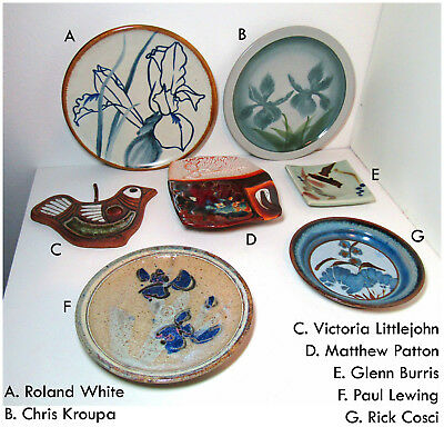 Vintage NW Studio pottery LOT of 7 pieces mcm wall plates art free US ship