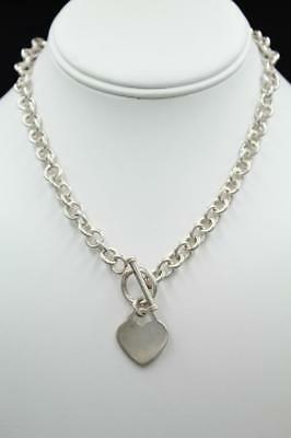"""925 Sterling Silver 8mm Rolo Link Heart Charm Toggle Necklace 16"""" ~ 46.4 g"""