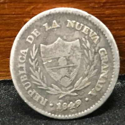 Colombia Republic of Nueva Granada 1849 Silver 2 Reales Dos Coin