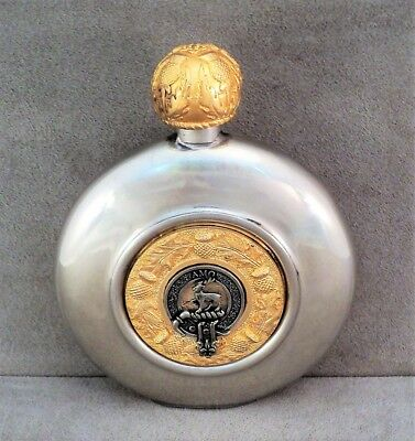 Vtg SCOTT CLAN English Pewter HIP FLASK Stag Thistle Gold Accents 7oz - Estate