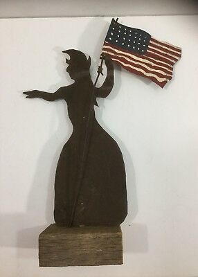 Vintage American Folk Art Sheet Metal Lady Liberty Weathervane With Flag Signed