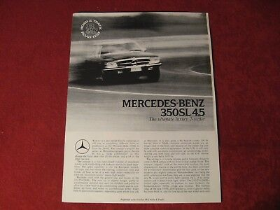 1971 Mercedes Benz 350SL Original Showroom Sales Brochure Old Booklet Catalog