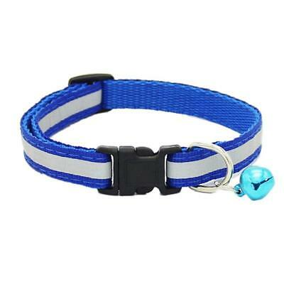 Adjustable Reflective Pet Collar Safety Release Buckle with Bell for Cat Dog ZL