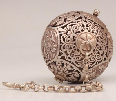 Antique Tibetan Silver Pendant Ball Incense Burner Old Openwork Flower