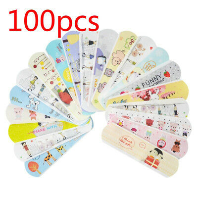 100Pcs Waterproof Breathable Cartoon Aid Hemostasis Band Adhesive Bandages CA