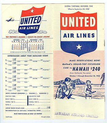 Sept, 1952 United Airlines& Hawaiian Airlines Flight Schedule to Hawaii Brochure