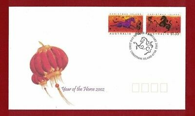 2002 Christmas Island Year of the Horse SG 504/5 FDC