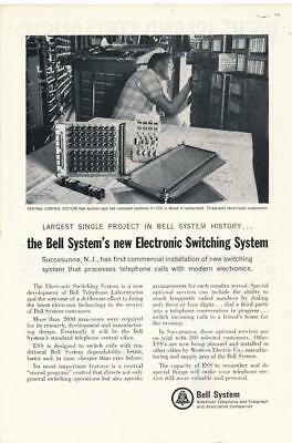 Vintage Magazine Ad - 1965 - AT&T / Bell System - First ESS Switching System