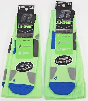 Two Pairs Socks - Russell Performance All Sport Compression Green New Mens 8-12