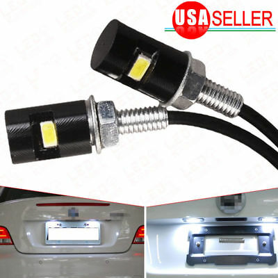 2X Universal White Motorcycle Screw SMD LED Bolt Lamp Car License Plate Light
