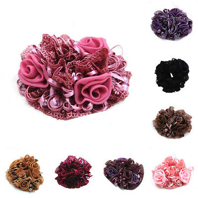 Womens Bridal Layered Lace Flower Stretch Hair Band Head Wrap Elastic Headband