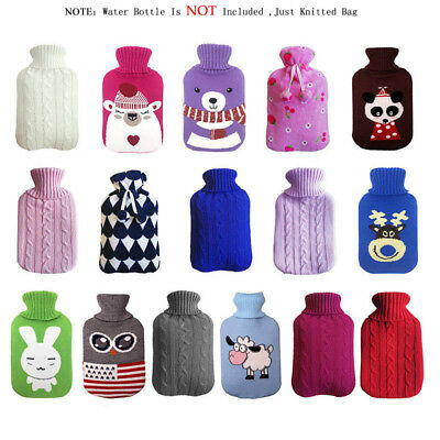 Large 2l Litre Hot Water Bottle Knitted Fleece Faux Fur Covers Many Designs