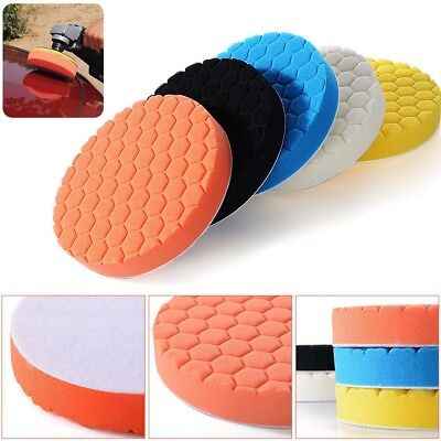 "5 Pcs 6/7"" Sponge Polishing Waxing Buffing Pads Kit Set Compound For Auto Car"