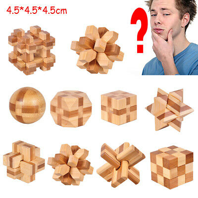 Jigsaw IQ Brain Teaser Cube Kong Ming Lock Wooden Puzzle Educational Game Toy