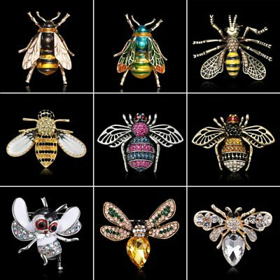 Rhinestone Crystal Bee Insects Brooch Pin Wedding Bridal Charm Costume Jewellery