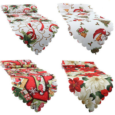 Vintage Christmas Table Flag Runners Santa Tablecloth Party Banquet Decorations