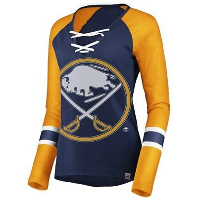 Majestic Buffalo Sabres Women's Navy/Gold The Lace Up Raglan Long Sleeve T-Shirt