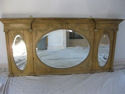 """Antique Overmantle mirror 60""""w x 29""""h 3 oval bevel-edged mirrors."""