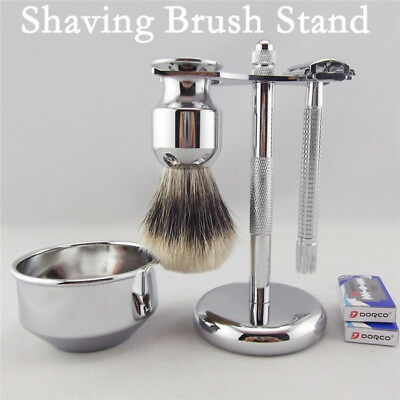 Stand Rack For Shaving Safety Razor And Badger Brush Holder Chrome Metal Z
