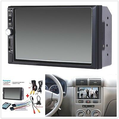 7inch 2DIN Car MP5 Player Bluetooth Touch Screen Stereo Radio HD+Rear Camera USA