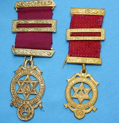 VINTAGE MASONIC ROYAL ARCH OFFICERS BREAST JEWEL MEDAL x 2 Sizes