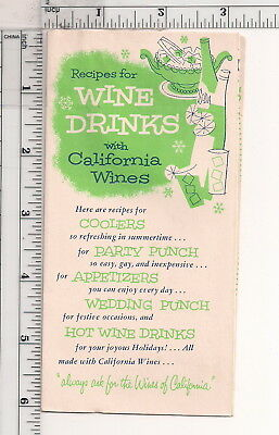 Vtg Wine Drinks w/California Wines Recipe Brochure 6 folded Pages Front & Back